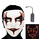 AnseeDirect Maske von Vampire Rave Maske LED Halloween EL Draht Gewinde Maske für Maskerade Party DJ Party Kostüm Cosplay (Vampir Maske(Rot))