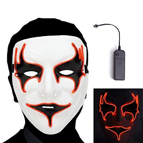 n Maske Clown Maske mit EL Wire Light 4 Modi Veränderbar Strapazierfähiges ABS Material für Halloween Karneval Maskenball Unfug ()