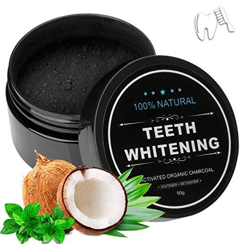 Natürliches Kokosnuss Aktivkohle Zahnaufhellung Pulver Zahnbleaching Zahn Whitening Teeth Whitening mit Aktivkohle Pulver Vikeepro Zahnpasta ohne schädliche Zusatzstoffe (60g)