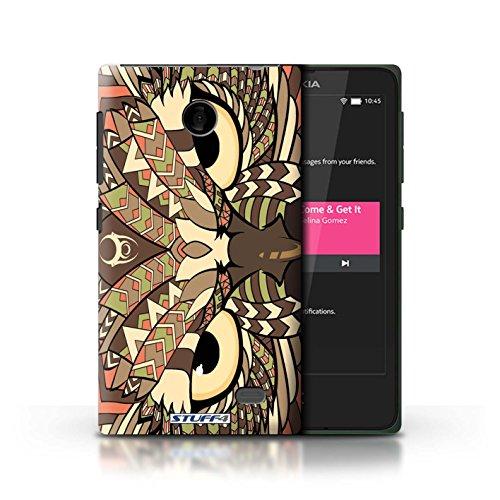 Kobalt® Imprimé Etui / Coque pour Nokia X / Tigre-Couleur conception / Série Motif Animaux Aztec Hibou-Sépia
