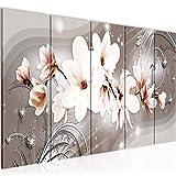 Bilder Blumen Magnolien Wandbild 150 x 60 cm Vlies - Leinwand Bild XXL Format Wandbilder Wohnzimmer Wohnung Deko Kunstdrucke Braun 5 Teilig - MADE IN GERMANY - Fertig zum Aufhängen 006256a
