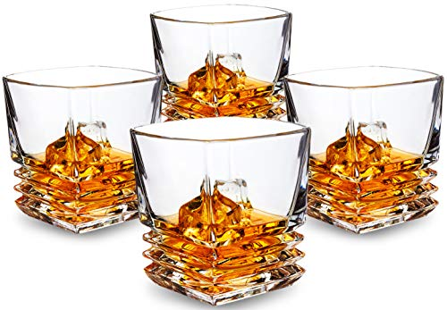 KANARS Whisky Gläser 4er-Set, 260ml Premium Classy Bleifrei Crystal Old Fashioned Cocktail Cool Rocks Scotch Glasbecher für Bourbon Tasting, Irish Whiskey, Brandy und mehr