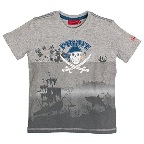 SALT AND PEPPER Jungen T-Shirt Shark Bay Pirate Grau (Grey-Melange 212), 128 (Herstellergröße: (Piraten Shirt Jungen)