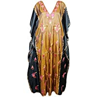 Woman Caftan Maxi Dresses Embellished Lounge Kaftan Silk Dress One Size