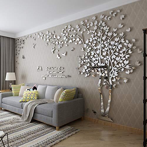Einfache Dekoration der Stereo Wandaufkleber-Wohnzimmer Kreativen Fernsehhintergrund-Wand des Acryls 3d Volles Silber Rechts in der Mitte