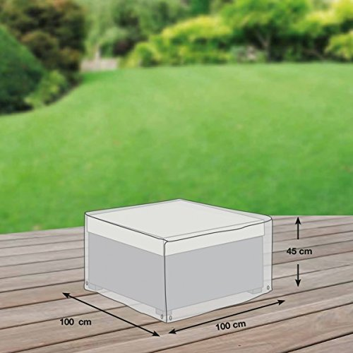 Coque de protection pour loungehocker en polyester oxford 600D gris clair-de-'mehr garten'(100 x 100 cm)