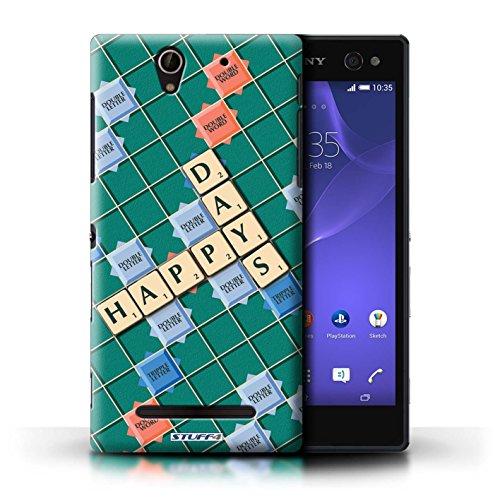 Kobalt® Imprimé Etui / Coque pour Sony Xperia C3 / Coeur Chaud conception / Série Mots de Scrabble Jours Heureux