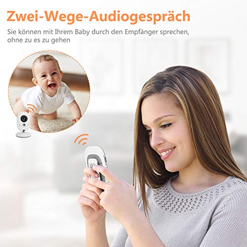 Yissvic Babyphone 2.4GHz mit Kamera Wireless Video Baby Monitor Nachtsicht Gegensprechfunktion Temperatursensor 2.0 Zoll LCD - 2