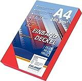 100 Einbanddeckel Lederstruktur, Falambi / Premium 240 Rückenkarton (rot)
