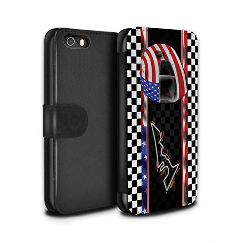 Stuff4 Coque/Etui/Housse Cuir PU Case/Cover pour Apple iPhone 5/5S / UK/Silverstone Design / F1 Piste Drapeau Collection USA/Austin