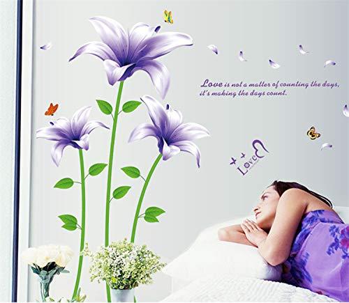 Adesivo murale fiore di lavanda adesivo fiore di lavanda viola fiore di pesco fiore di petunia, articolo 4: giglio viola 170 * 135, grande
