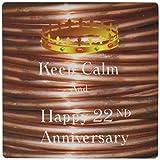 3drose Keep Calm and N Happy 22nd Anniversary mit Foto von Kupfer–Mauspad