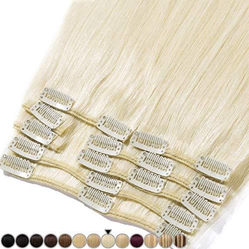 Clip In Extensions Haarverlängerung für komplette Remy Echthaar Glatt 105g - 50cm #60 Platinum Blonde