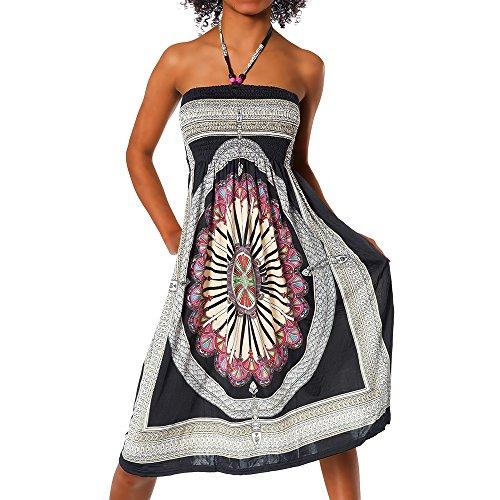 H112 Damen Sommer Aztec Bandeau Bunt Tuch Kleid Tuchkleid Strandkleid Neckholder, Farben:F-026 Schwarz;Größen:Einheitsgröße