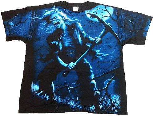 Iron Maiden T-Shirt da uomo Benjamin Breeg Nero? - Martello 1978 Official Merchandise All Over Print Design Eddie Killer Skull cimitero Rockstar Tshirt Club ViP Rock Star Design, Uomo, iron breeg all over, nero, L