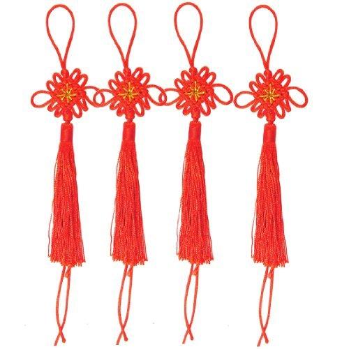 Water & Wood 2 Packs Handcraft Red DIY Chinese Knot Tassel Fringe 4.1