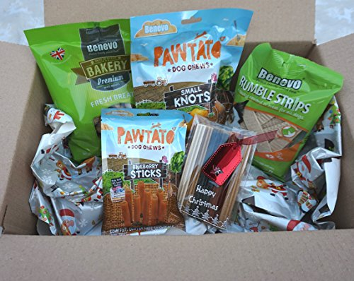 Paradise Pets VEGAN VEGETARIAN VEGGIE CHRISTMAS DOG TREAT HAMPER BOX WITH FRESH BREATH BISCUITS OR TUBES AND CHEWS