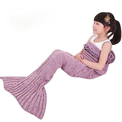 Kinder Teenager Mädchen Häkeln Meerjungfrau Schwanz Decke Gestrickte Schlafsack , Kwock All Seasons Fischschwanz Decken Sofa Quilt Perfekt Geschenk 53.1