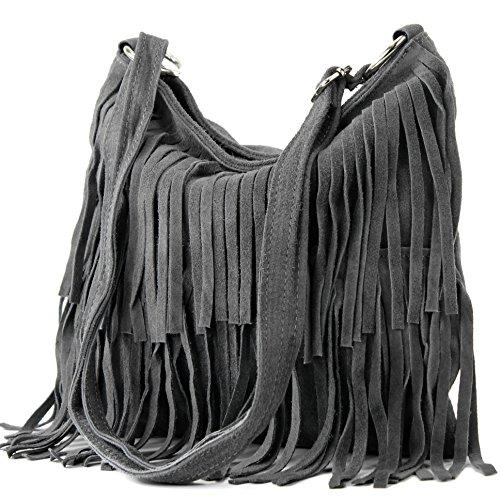 ital. Ledertasche Umhängetasche Fransentasche Schultertasche Damentasche Wildleder T125, Präzise Farbe:Dunkelgrau