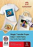 Carta trasferibile termoadesiva per tessuto leggero (carta magica) di Raimarket, formato A4, trasferibili su carta o magliette, stampa su tessuto fai da te, libera la tua creatività