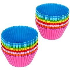 Idea Regalo - Anpro 32 pezzi Pirottini da forno riutilizzabili in silicone per alimenti, Stampi da Muffin per Pastichieria,Cupcake,Torta e Muffin
