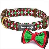 Blueberry Pet 2cm M Weihnachtsfeier Hundehalsband im Argyle-Stil mit Fliege, Mittlegroβe Halsbänder für Hunde