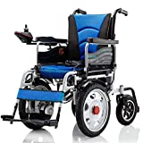 DONGBALA Heavy Duty Electric Wheelchair, Foldable And Lightweight Powered Wheelchair Seat Width 45Cm 360° Joystick 250W*2 Weight Capacity 150KG for The Elderly Disabled(Blue)