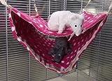 Riesige Doppel-Hängematte für Ratten, Frettchen und Chinchilla-Käfige aus Fleece, Rot und Weiß Waschbares lustiges Spielzeug für Kleine Plüschtiere.