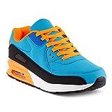 FiveSix Herren Damen Sportschuhe Dämpfung Sneaker Laufschuhe Schwarz/Blau/Orange-M EU 43