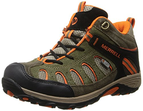 Merrell CHAMELEON MID LACE WTPF, Jungen Trekking- & Wanderstiefel, Grün (OLIVE/ORANGE), 32 - Schuhe Junge Merrell