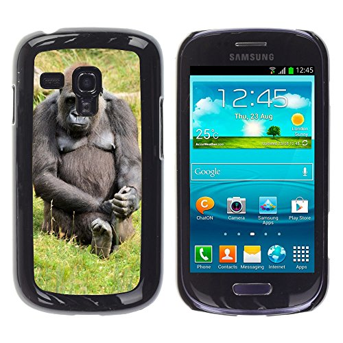 d Hart Handy Schwarz Schutz Case Cover Schale Etui // M00139020 Gorilla Zoo Serie AFFE Monkeys // Samsung Galaxy S3 Mini i8190 ()
