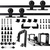 Adidas Pfeil Bypass-Schiebetür Scheune Holz-Tür-Hardware-Stil mit u-bracket Design mit Tür, zur, schwarz