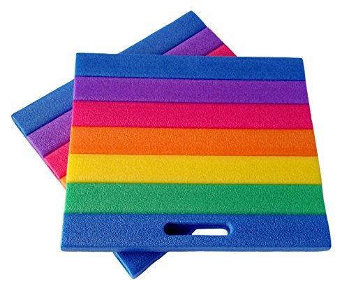 Hub 2 Stück Sitzkissen, Kniekissen 35 x 30cm, abwaschbar, regenbogenfarben