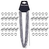 33 Füße Edelstahl DIY Gliederkette Link Kette mit 20 Karabinerverschluss und 30 Sprung Ringe für Schmuck machen