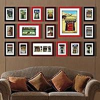 PF Nero Rosso colore misto Photo Wall Frame Collection Set di 16
