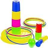 Frienda Anillos de Juego de Lanzamiento Coloridos Plástico Desmontable 8 Conos 12 Anillos para Diversión al Aire Libre Juguetes de Niños y Adultos