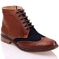 Unze Mens Chelsea Leather Laced-up Boots Dark Tan 6 UK