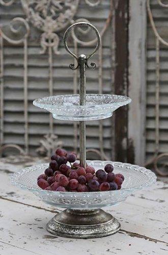 Etagere mit Glastellern von Chic Antique, Nostalgie-/Antik-Look, Höhe 42 cm hoch