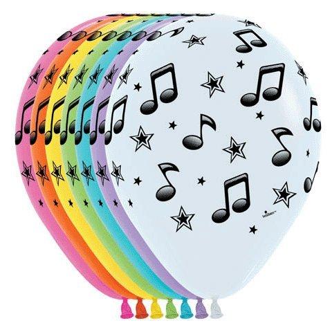 10-Betallatex-Luftballons-Music-Notes-Musiknoten-bunte-Mischung-etwa-28-cm-rund