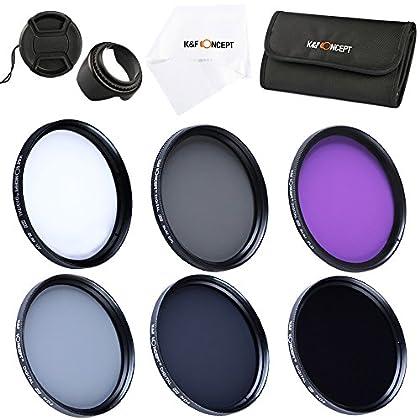 K&F Concept® 49mm UV CPL FLD, ND2+ND4+ND8 Filtro Kit para Lentes Accesorios para Canon Nikon DSLR Cámaras + Pétalo Parasol + Centro de Pellizco Tapa Del Objetivo + Paño de Limpieza Microfibras + 6 Ranuras Bolsas de Filtro