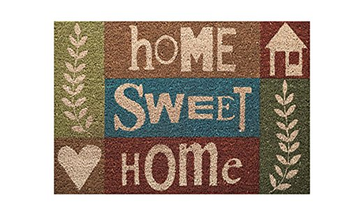 Fussmatte - Fußmatte - Türfußmatte - Fußabstreifer - Fußabtreter - Türmatte - Motivfußmatte - Fußmatte - Kokos - Kokosfussmatte - Home sweet Home - braun - blau (Braun-teppiche Und Blau)