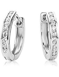 Miore Damen Creolen / Elegante Ring-Ohrringe aus 925 Sterling Silber mit 18 farblosen Zirkonia-Steinen / Damenschmuck Ø 16 mm