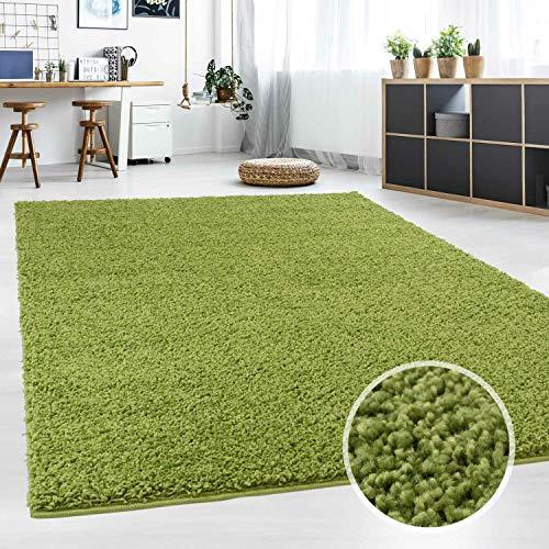 Hochflor Teppich | Shaggy Teppich fürs Wohnzimmer Modern & Flauschig | Läufer für Schlafzimmer, Esszimmer, Flur und Kinderzimmer | Langflor Carpet grün 060x090 cm - Grüner Läufer Teppich