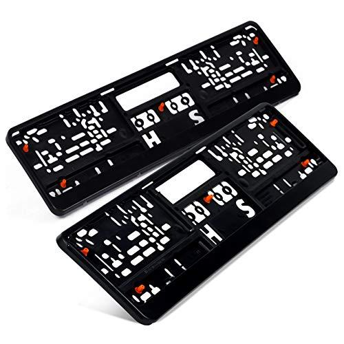 Preisvergleich Produktbild Kennzeichenhalter Set Auto Schwarz Optimale Dämmung Nummernschildhalter Pkw Kennzeichenhalterung Nummernschild (2 Stück)