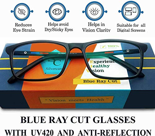 Silvercare Blue Ray Cut eyeglasses with UV420 and Anti-Reflection Protection for Healthy Eyes(unisex | medium)