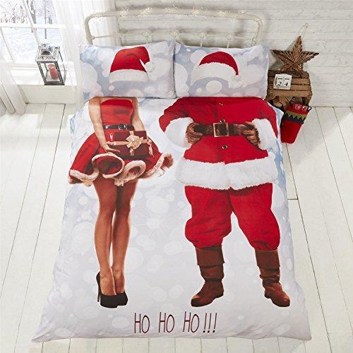 Weihnachten slefie Mr&Mrs Weihnachtsmann Claus rot Baumwollmischung Doppel ( Uni creme passendes Leintuch - 137 x 191cm + 25) 4-tlg. Bettwäsche Set (Tröster Set Rot Und Schwarz)