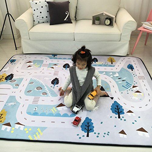 *Zinsale Große Verdicken Baby Krabbeldecken Langsames Aufstehen Samt Spielmatte Kindergarten Aktivität Pad Krabbelmatte (Dorf)*