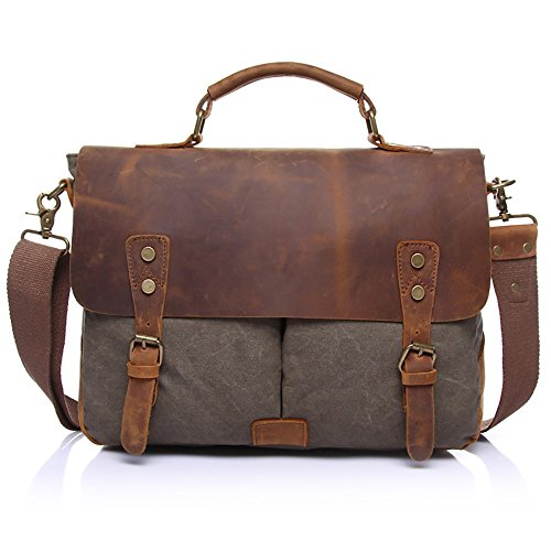 Vintage Retro Leinwand Umhängetasche Crossbody Umhängetasche Aktentasche Leder ( Color : Gray ) (Weekender Cross Body)