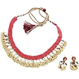 Fashion Valley Rosy Pink Jeko Moti Designer Necklace Jewellery Set For Women