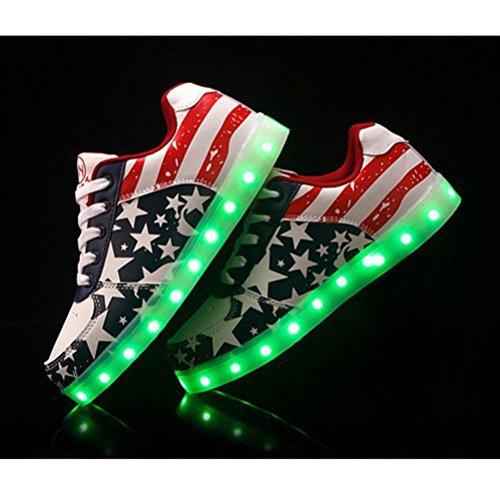 (Présents:petite serviette)JUNGLEST® Unisexe Femmes Hommes recharge USB Chaussures LED Light Up Glow Luminous Flag American Star Souliers Rouge